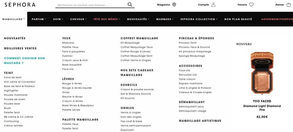 sephora menu 1024x463 - L'ÉQUIPE B.D.C. OFFICIELLEMENT CERTIFIÉE EN UX PAR CONTENT SQUARE !